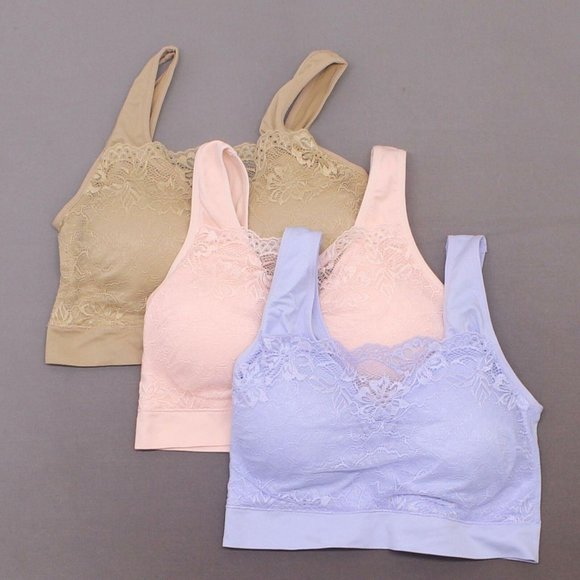 Rhonda Shear Pink Ahh Bra Lace Overlay New Removable Pads